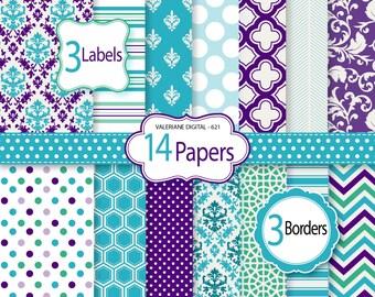 Purple digital paper, scrapbook paper, wedding paper, turquoise and purple, damask digital paper, digital backgrounds -  621