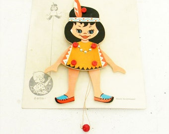 Rare Large Antique 1950s Indian Girl Pull Toy Zeller Company Made in Germany