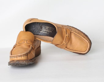 Vintage Size 6 Women's Tan Leather Size 6 Wedge Loafers, Made in Italy