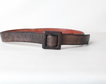 Vintage Size 40 Women's Wide Brown Leather Belt