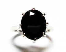 """Black spinel ring, black spinel,  black cocktail ring, black jewelry, black, s 4 3/4  """"Black Bling"""""""