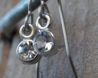 Titanium Earrings, Clear Rhinestone Crystals with Hypoallergenic Titanium Ear Wires