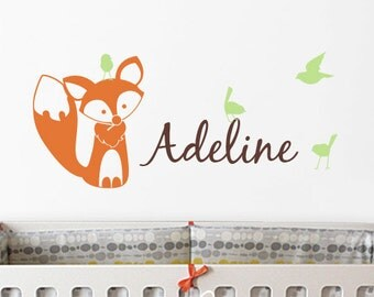Nursery Wall Decals. Fox, Birds and Custom Name Decal - Kids Wall Sticker Baby Name Decal