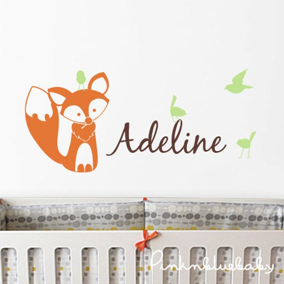nursery wall decals fox birds and custom name decal