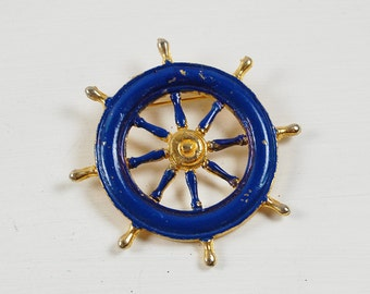 Vintage Blue and Gold Ship Helm Steering Wheel Brooch