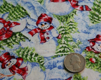 "3 Yards 3""   44""  Wide Cotton Fabric Christmas Snowmen Print"
