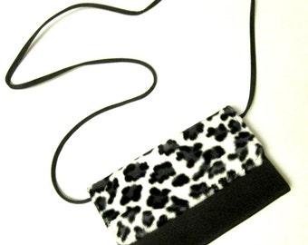 Black White Animal Print Mini Purse Wallet Organizer Leopard Vegan