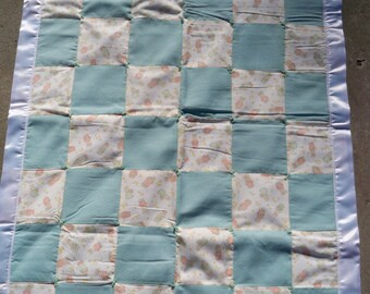 Green Bunny Baby Quilt