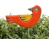 bird garden art - plant stake - garden marker - garden decor - bird ornament - ceramic bird - red & yellow