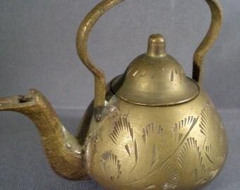 Antique Primitive Brass Miniature Teapot Indian Incense Burner Cottage Chic Home Decor