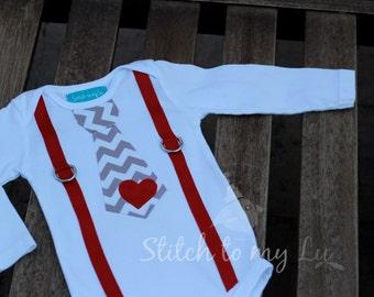 Valentine's Day Shirt Tee Bodysuit Baby Toddler Boy Gray Chevron Red Heart Tie and Suspenders Little Man Heart Breaker LOVE