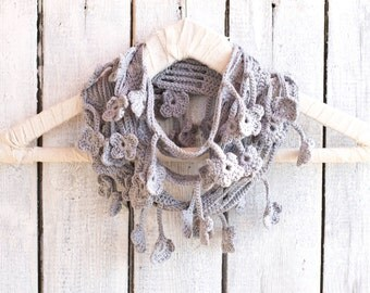 Grey Scarf with Crochet Flowers, Egyptian Cotton Crochet Infinity Scarf