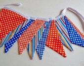 Banner Bunting in Bright Blues, Oranges and Stripes Great for Birthday Party, Photo Shoots, etc.