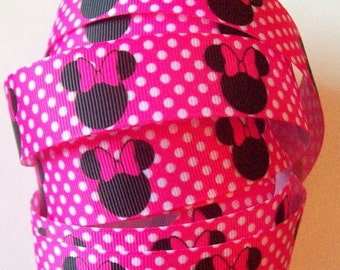 Disney Ribbon, Minnie Mouse Grosgrain Ribbon in Hot Pink and Black with white polka dots  - 1 yards -  1 inch wide
