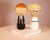 Custom Kokeshi Wedding Cake Topper Kokeshi Doll Wedding Toppers Custom Cake Toppers with Heart Base