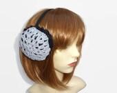Faux Fur Earmuffs with Crochet Detail in Grey Black