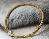 leather choker matte gold - handwoven leather choker matte gold with sterling silver lock - leather choker - MariaHelena Design