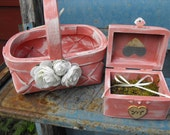 You Pick Your Colors Country Chic Personalized Woodland Rustic Wedding Ring box & Distressed Flower Girl Basket Set