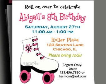 Roller Skating Invitation Printable or Printed with FREE SHIPPING - Multi Dot Roller Skating Fun