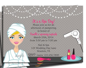 Spa Day Invitation Printable or Printed with FREE SHIPPING- You Pick Hair Color/Skin Tone