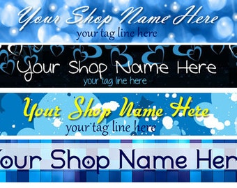 Large Etsy Facebook Cover Photo Ready Made Blue Back White Heart Sparkle Glitter Shop Banner- Pick one