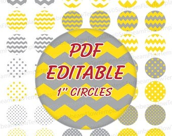 "INSTANT DOWNLOAD - 1"" Circles Editable PDF 0003 Yellow Gray polka dots chevron Bottle cap Hairbow party Decoration magnets atc aceo pyo diy"