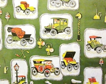 Vintage Wrapping Paper - Horseless Carriage Gift Wrap - Full Sheet - Kaycrest
