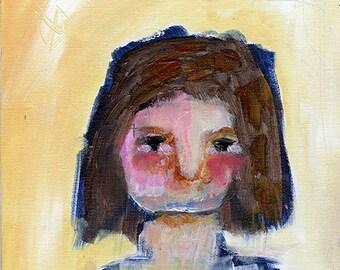 """Mirabel - 8x10"""" Original Primitive Portrait painting"""