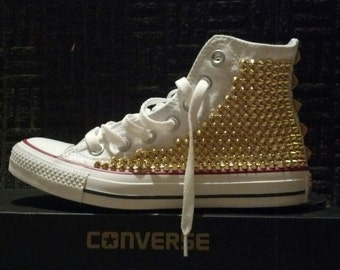 Studded Spike Converse High Top White with Gold (ONE SIDED SHOES)