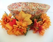 Large Coiled Fabric Bowl Basket Fall Autumn Leaves