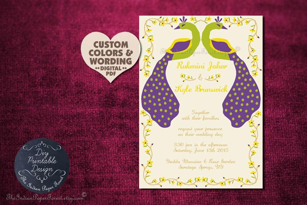 Peacock Wedding Invitations Template: Rustic Peacock Wedding Invitation Program Cover Diy PRINTABLE