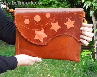 LEATHER Bag. Genuine star & circles , thick cow leather bag, handmade. Brown and orange. Lined in orange.