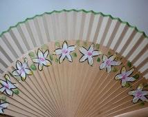 HAND HELD Fan Tropical Flowers Flamenco Folding Fan from Spain MTO Made to order