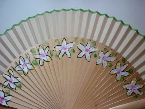 HAND HELD Fan Tropical Flowers Flamenco Folding Fan from Spain MTO Made to order