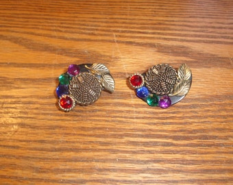 vintage clip on earrings large colorful lucite