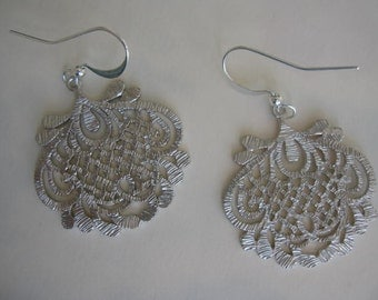 Silver Earrings-Brushed Silver Filigree-Wedding, Bridal, Prom