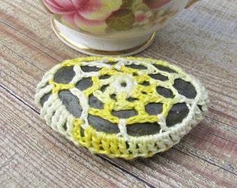 SALE Crochet Lace Pebble Fridge Magnet Stone Rock Cozy Yellow Ombre Lemon White Gift Kitchen Freezer Handmade Boho Spiral Web Doily Doilies