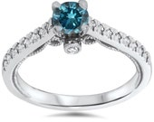 Vintage .65 Ct Blue Diamond Engagement Ring Antique Filigree Deco 14K White Gold