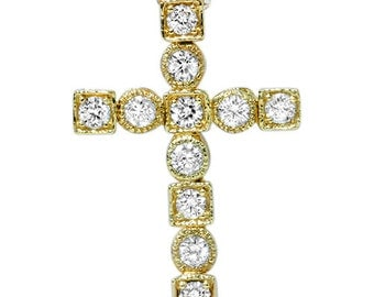 Diamond Cross Pendant Necklace in 14K Yellow Gold, Diamond Cross, Yellow Gold Pendant, Diamond Pendant, 14k Yellow Gold.