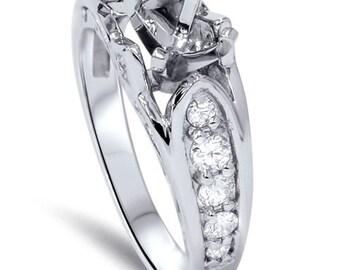 Diamond .43CT Engagement Ring Setting 14K White Gold