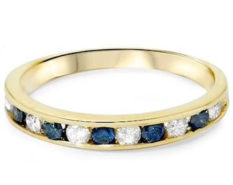 1/2CT Blue & White Diamond Channel Set Ring 14K Yellow Gold