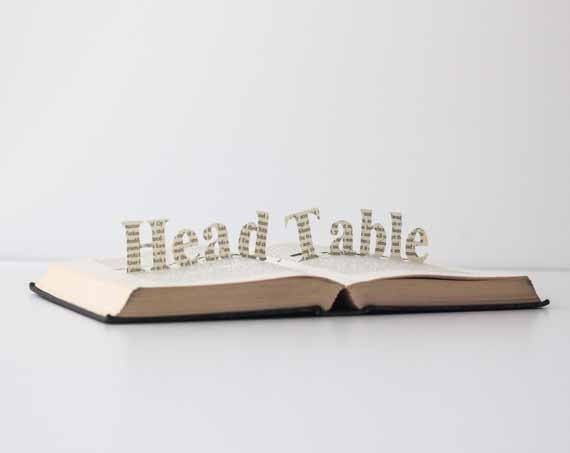 Head Table- Vintage Book Pop Up