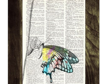 Summer Sale Butterfly  Book print art - colorful Butterfly - Upcycled book page Art Dictionary book print BFL103