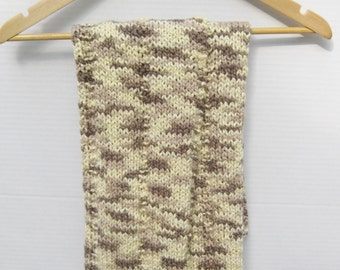 Organic cotton knit baby blanket ivory taupe brown
