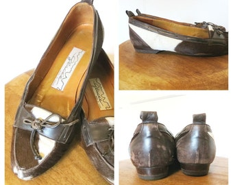 Vintage 80s Leather and Cowhide Loafers Flats Chocolate Brown and White Womens Size 6.5M