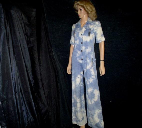 70s M JUMPSUIT Safari Bell Bottoms Elephant Pants Greco Blue Tie Dye