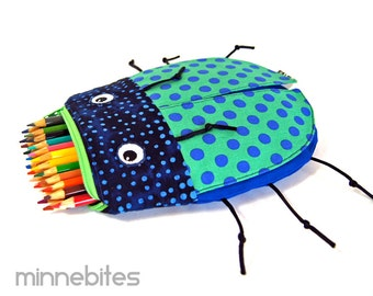 CLEARANCE Beetle Bag by MinneBites / Handmade Toy Bag Boys - Green Blue Toiletry Kit - Kids Pouch - Pencil Case - School Bag - Ready to Ship