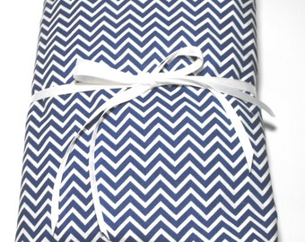 Navy Blue and White Chevron Fitted Toddler Sheet and Pillowcase