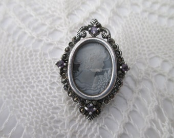 vintage sterling silver cameo pin - frame, victorian woman, marcasites, amethyst