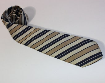 "vintage 60's -70's -neck tie. Diagonal repp stripe - Champagne Golds & Blue. Modern narrow 2 7/8"" wide."